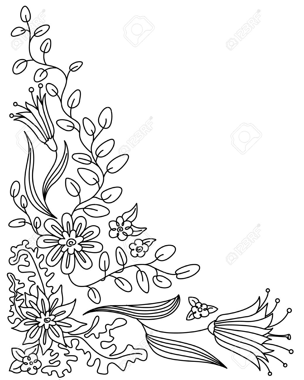 Flower Frame Drawing