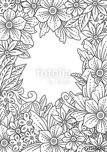 354x500 Floral Frame. Hand Drawn Flowers And Leaves, Doodle Art. Outline