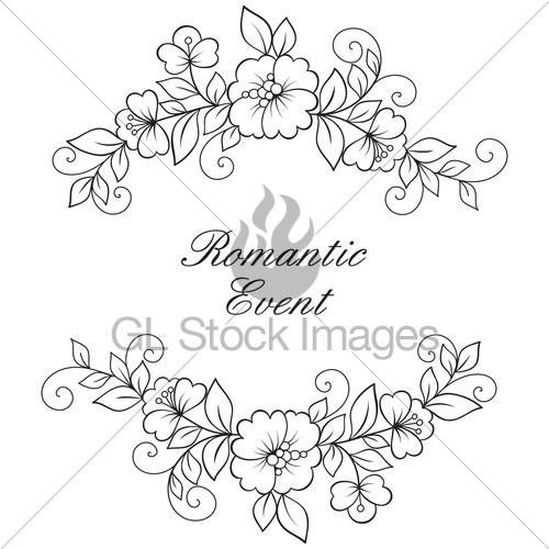 500x500 Flower Vector Ornament Frame. Gl Stock Images