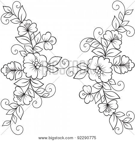 450x470 Flower Vector Ornament Frame. Black Flower Frame, Lace Ornament