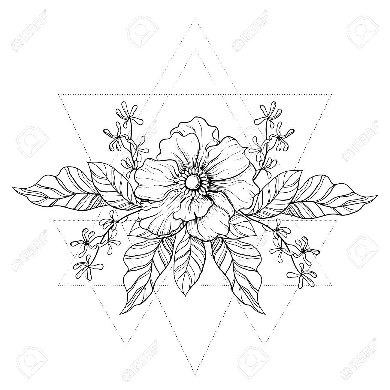 1299x1300 Hand Drawn Boho Tattoo. Blackwork Flower In Hipster Triangles