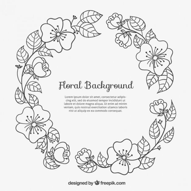 626x626 Sketchy Floral Frame Vector Free Download