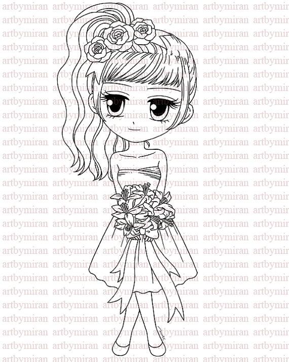 570x713 Digital Stamp Flower Girl Vanessa85 Digi Stamp Coloring