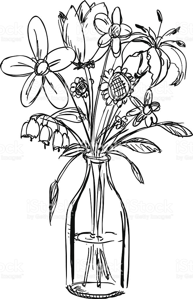 661x1024 Gallery Bunch Of Flowers In A Vase Drawings,