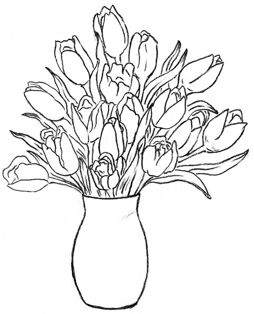 828x1024 Sketches Flowers In A Vase Flower Vase Drawing Rose Bouquet