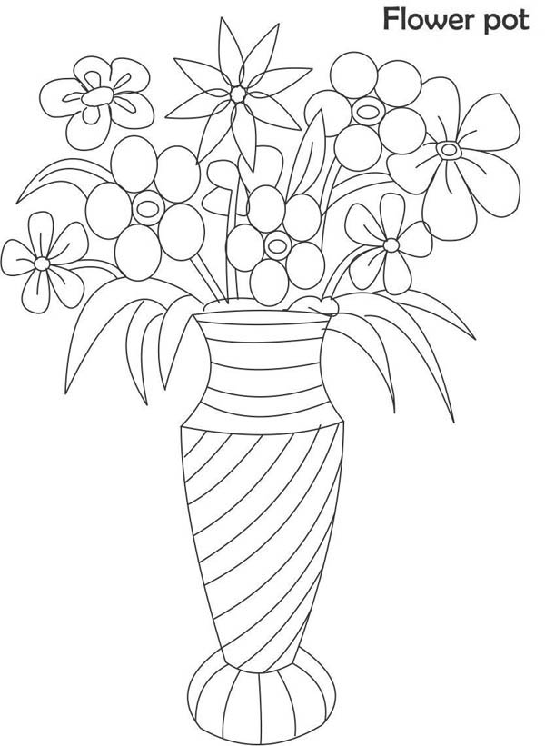 600x821 vase with flowers drawings for kids