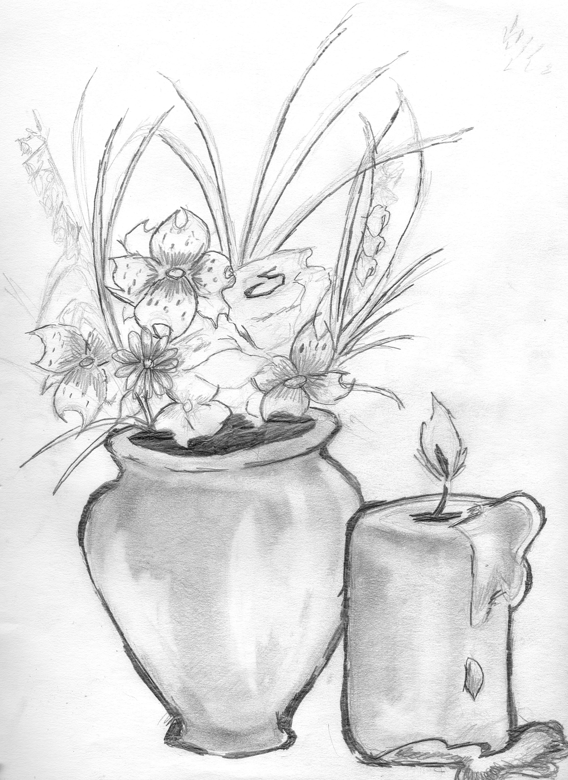 2317x3179 Drawn Still Life Flower Vase