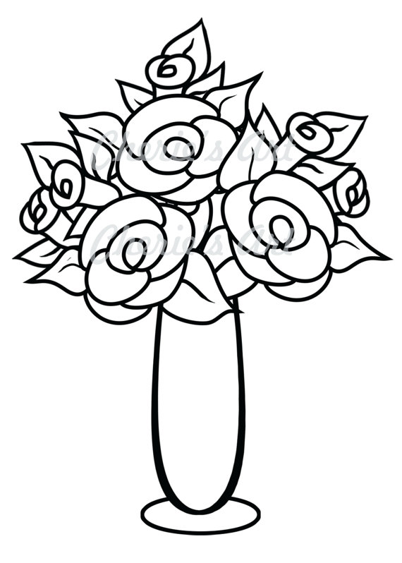 570x798 Flower Vase Drawing Clipart