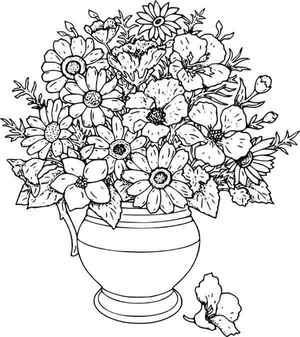 Amazing 600x674 Beautiful Flower Vase Coloring Page Coloring Pages Pinterest