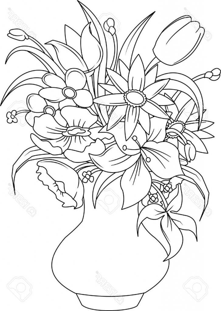 727x1024 Gallery Bunch Of Flowers In A Vase Drawings,