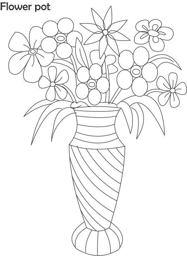 600x821 Pots With Roses Drawings
