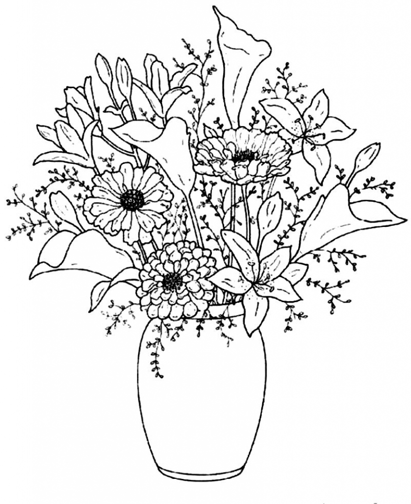 834x1024 Beautiful Flower Vase With Flowers Drawing Drawings Of Flowers