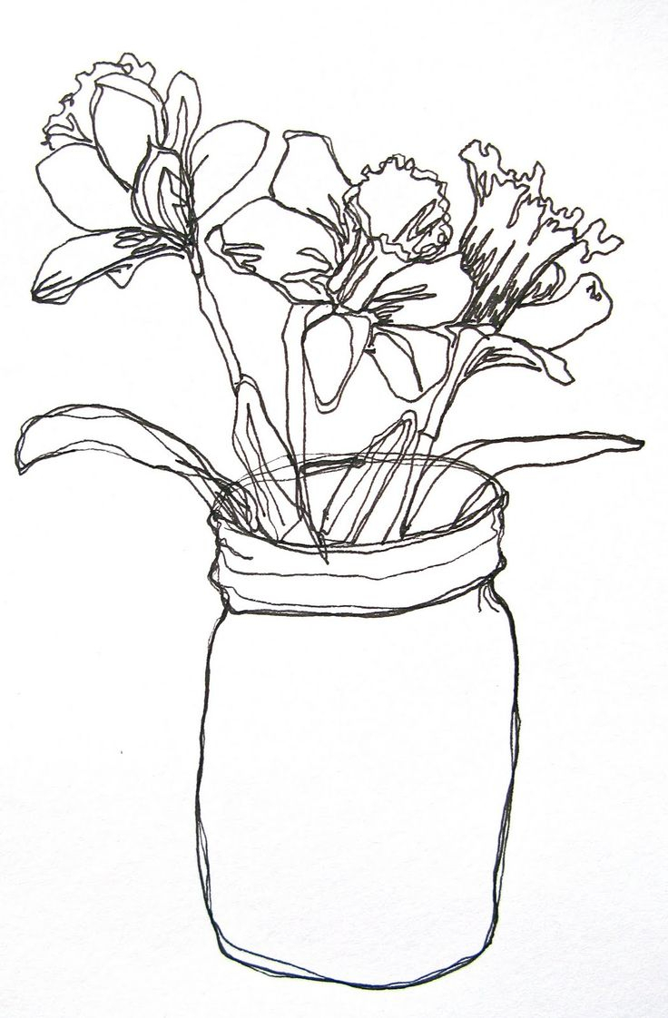 736x1122 Simple Flower Vase Drawing Best Flower Sketches Ideas