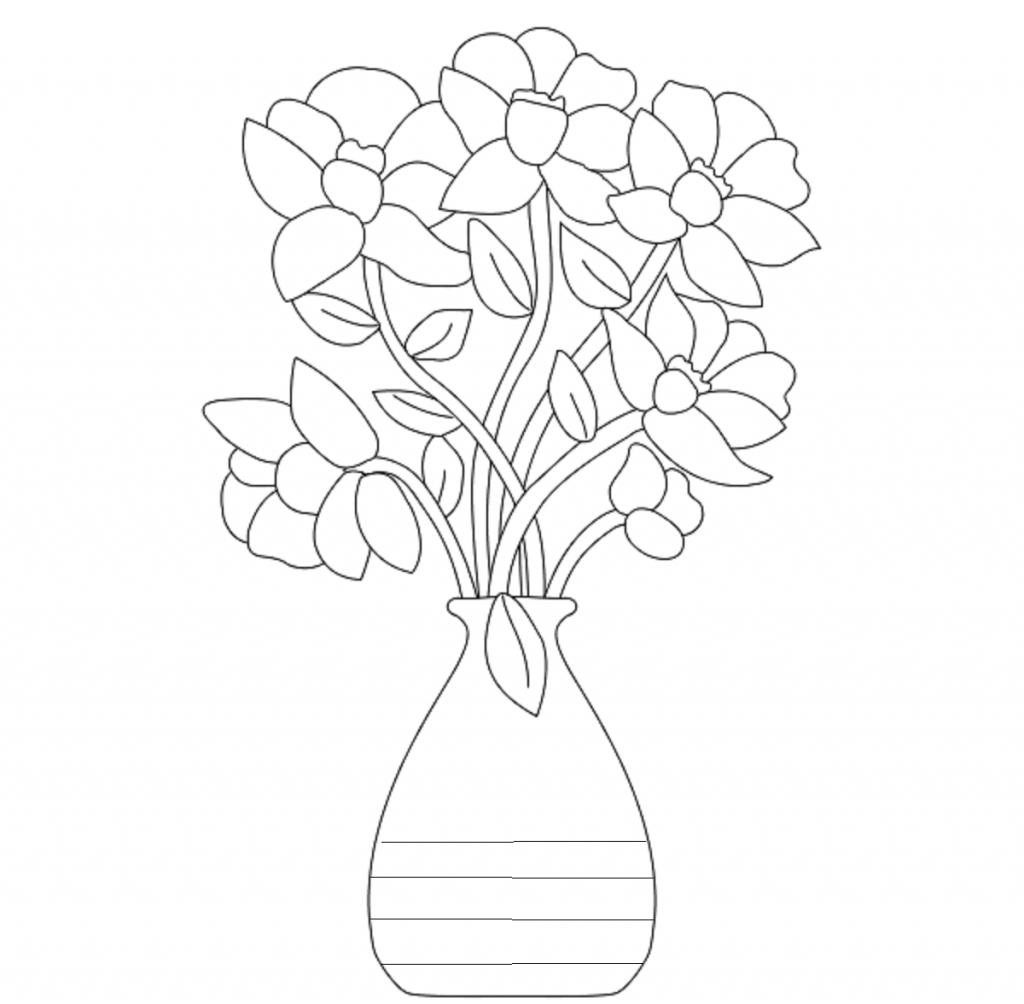 1024x1004 Sketch Of Same Flower In Flower Vase