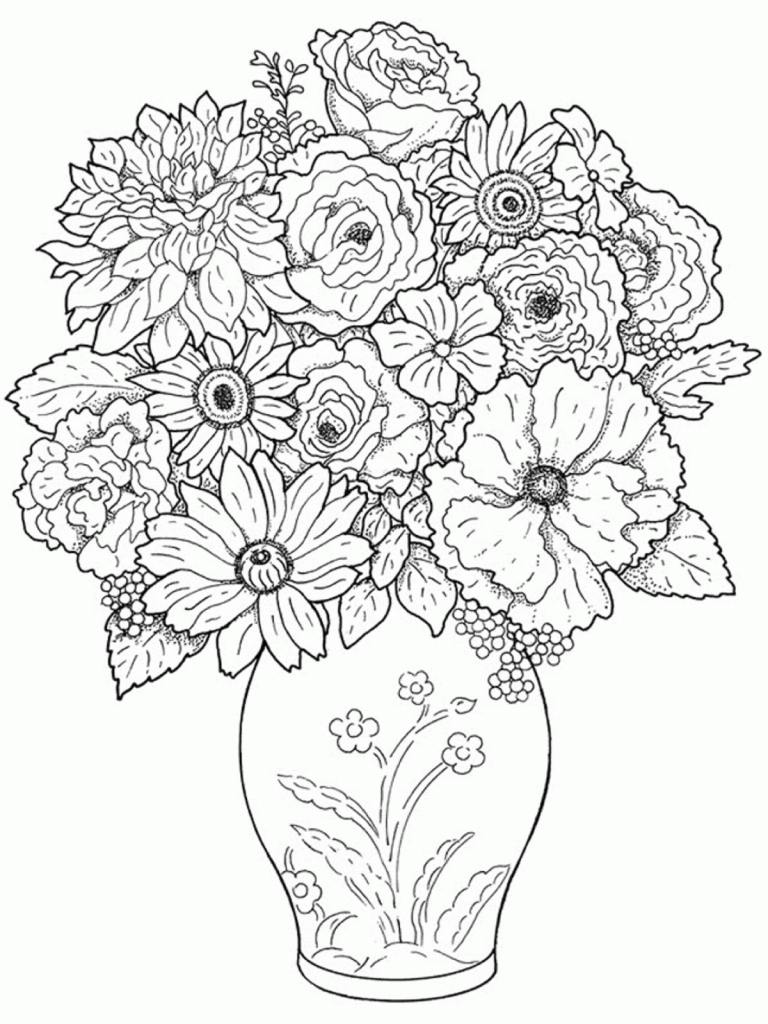 768x1024 Vase Flower Drawing Beautiful Flower Vase With Flowers Drawing