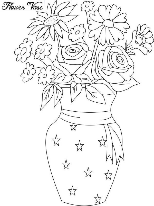 600x801 Drawing Flower Vase Coloring Page Drawing Flower Vase Coloring