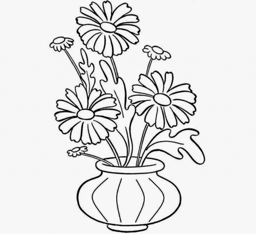 1024x935 Drawing Of A Flower Vase With Colour How To Draw Flowers