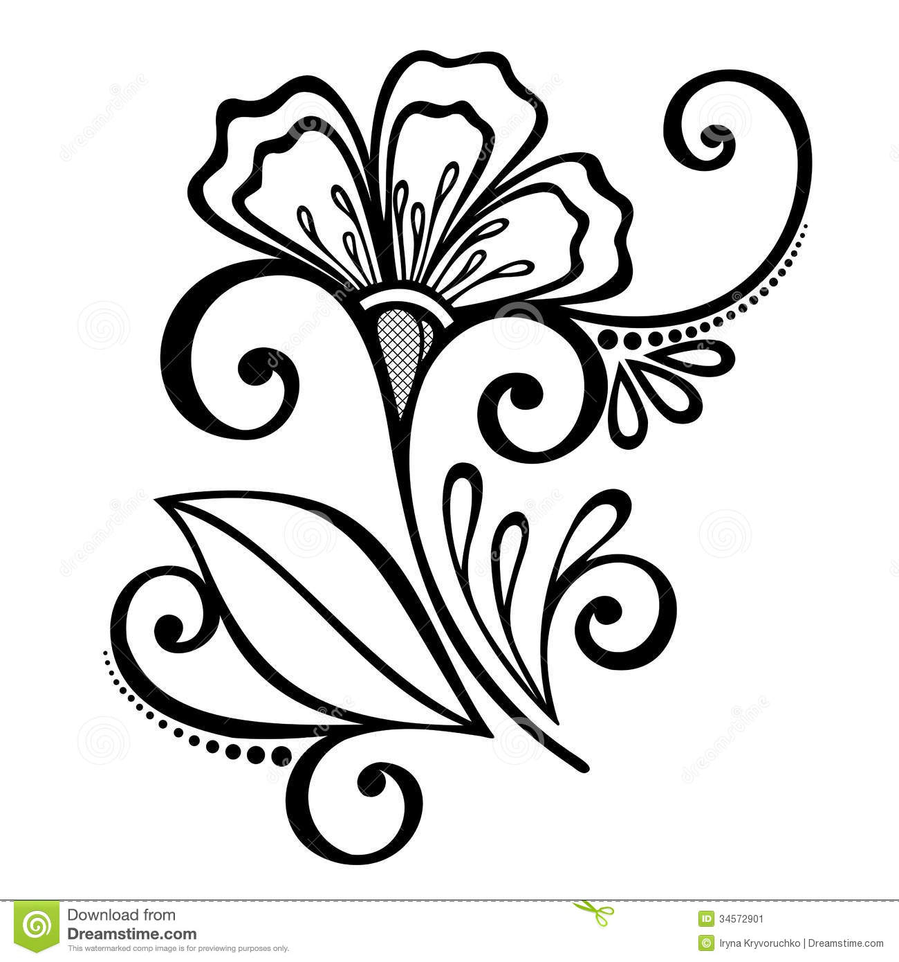 1300x1390 Flower Designs For Drawing Decorative Flower With Leaves Stock