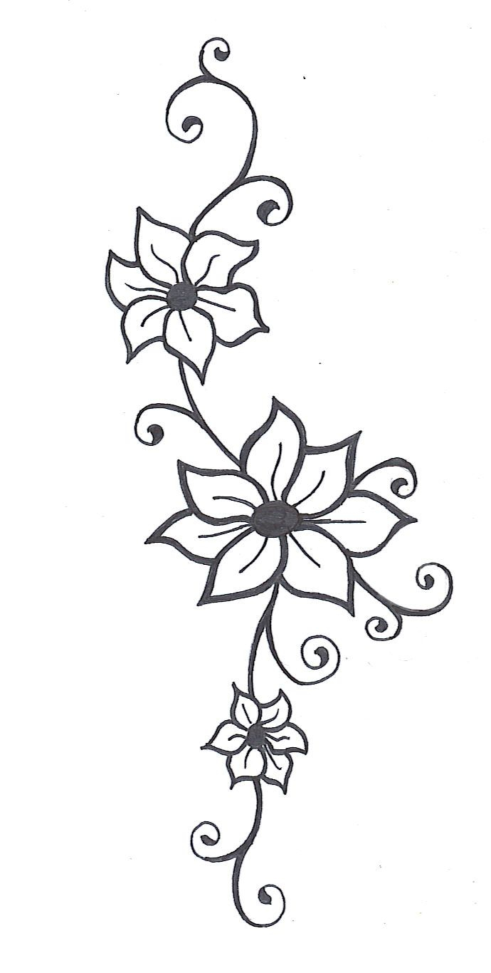 690x1366 Flowers And Vines Drawing