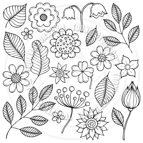 460x460 Cartoon Drawings Of Flowers And Leaves Theme By Clairev Toon