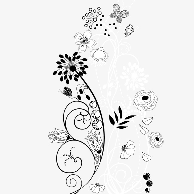 650x650 Hand Painted Floral Decoration Vector Line Drawing, Hand Painted