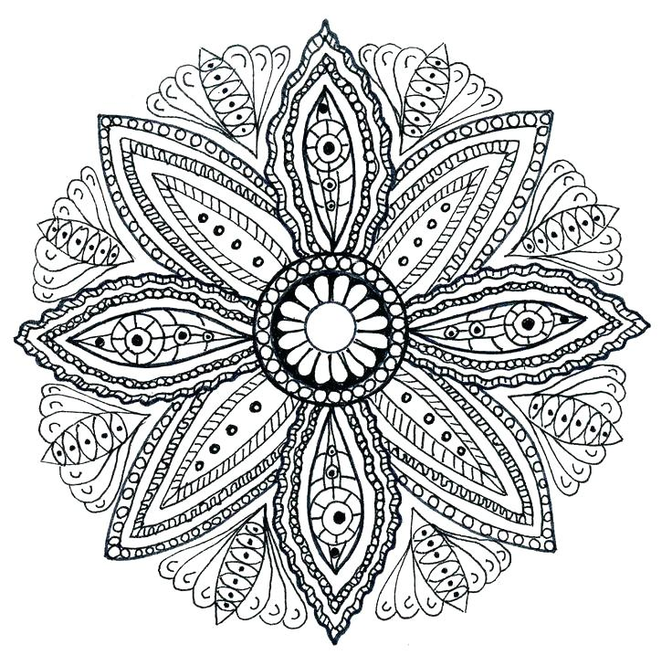 736x729 Simple Flower Mandala Coloring Pages Print Mandalas Book By Com