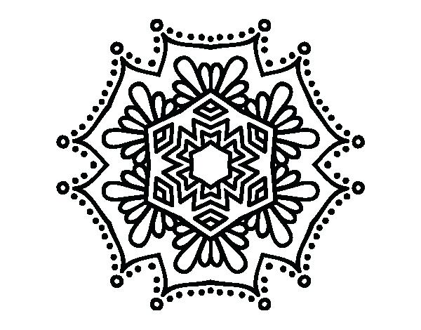 600x470 Symmetry Coloring Pages Symmetrical Flower Mandala Coloring Page