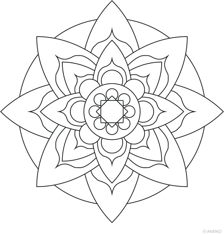 736x771 Easy Flower Coloring Pages Mandalas Meditation Coloring Easy