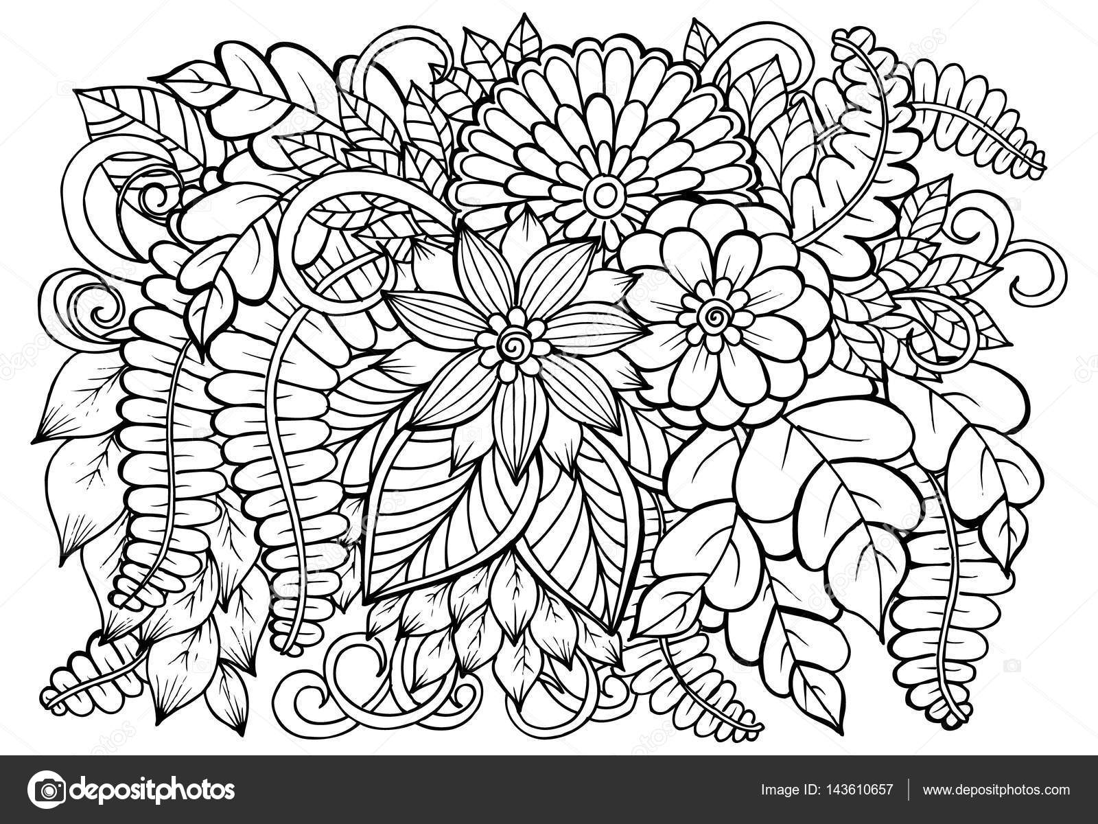1600x1200 Vector Black And White Flower Pattern For Adult Coloring Book