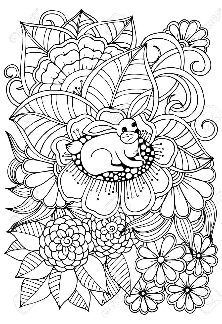 893x1300 Black And White Flower Pattern For Adult Coloring Book Doodle