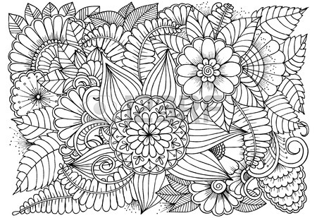 450x309 Black And White Flower Pattern For Coloring Doodle Floral Drawing