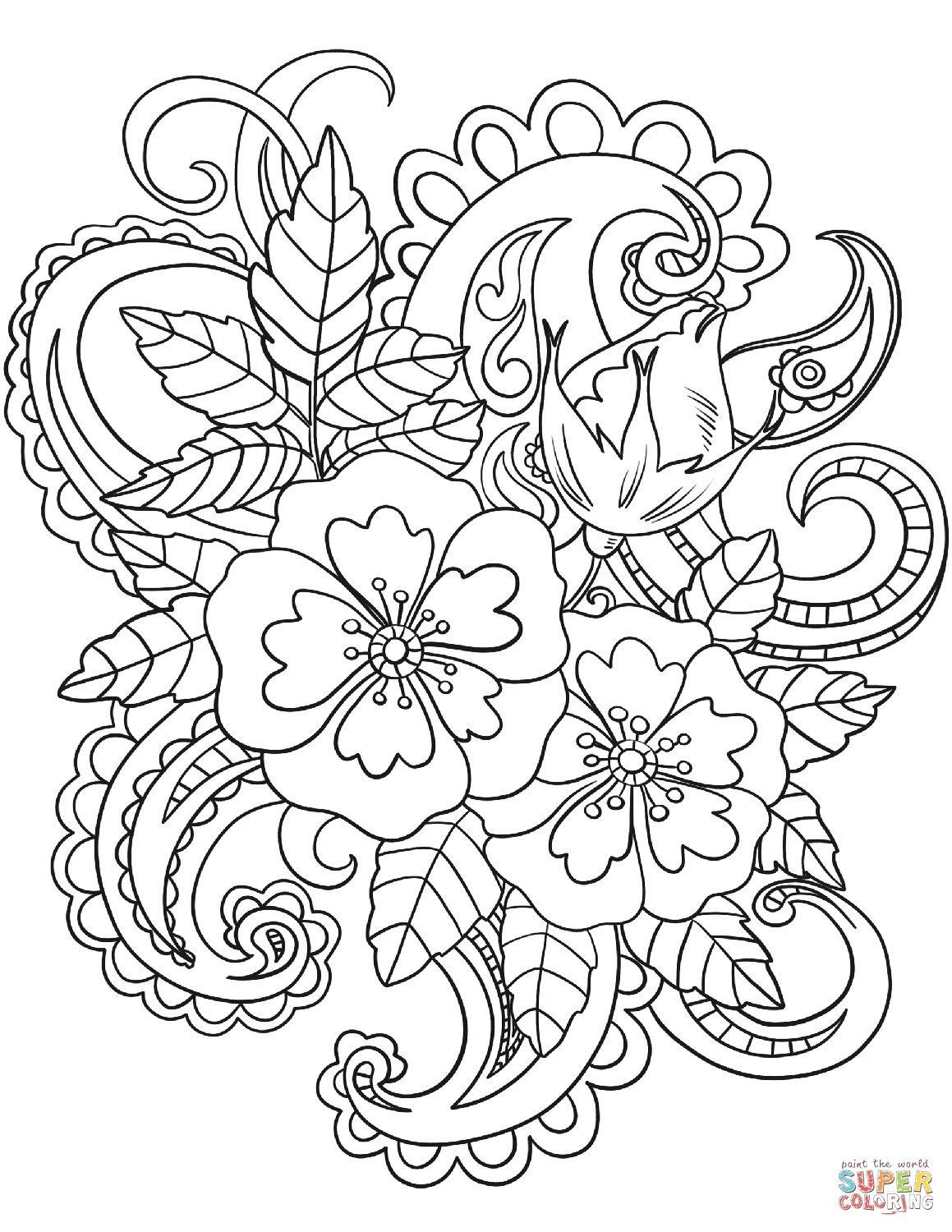 1159x1500 Vintage Baroque Flowers Coloring Page Free Printable Coloring Pages