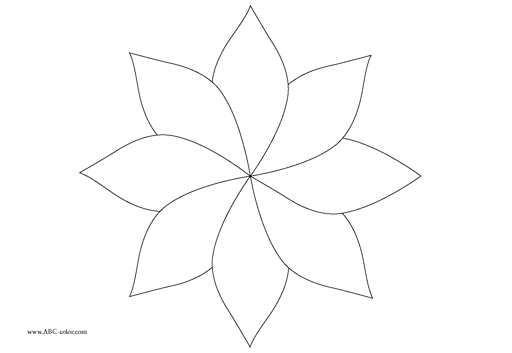 1713x1181 eight petal flower template