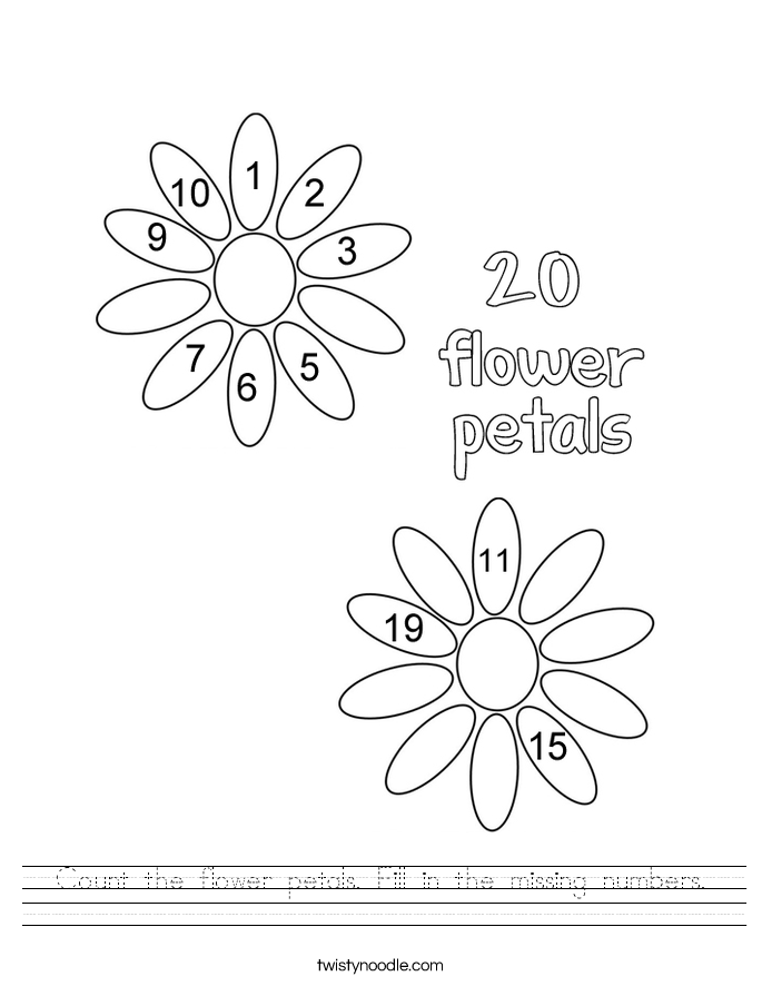 685x886 Count The Flower Petals Fill In The Missing Numbers Worksheet
