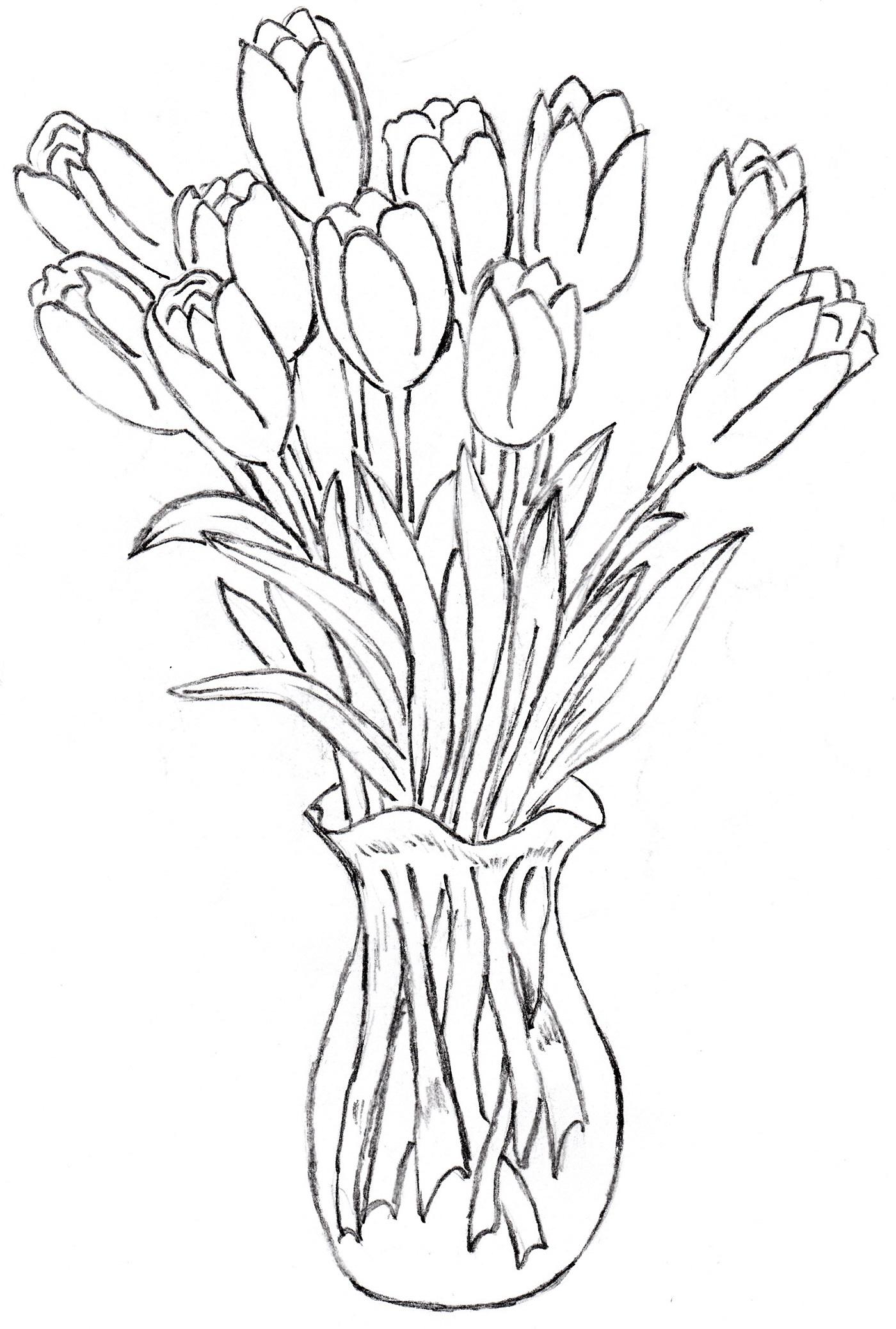 1400x2076 50 New Flower Vase Drawing