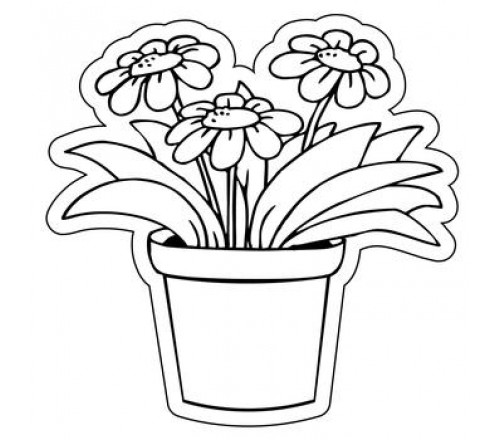 Flower Pot Drawing Images