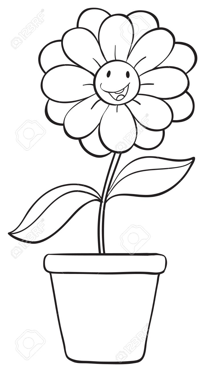 Line Drawing Of Flower Pot : Flower pot drawing images at getdrawings free for