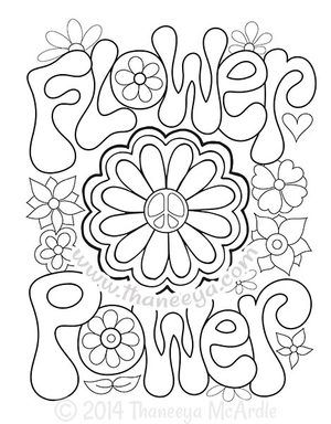 300x384 Flower Power Coloring Page By Thaneeya McArdle For