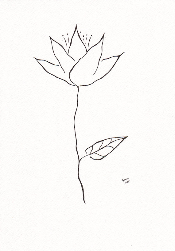 570x814 Abstract Black And White Flower Drawing. Small Ink Line Art Sketch