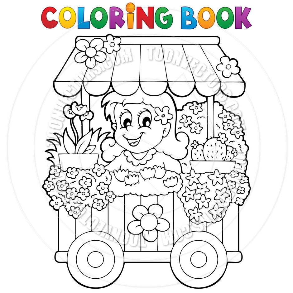 940x940 Cartoon Coloring Book Flower Shop Theme By Clairev Toon Vectors