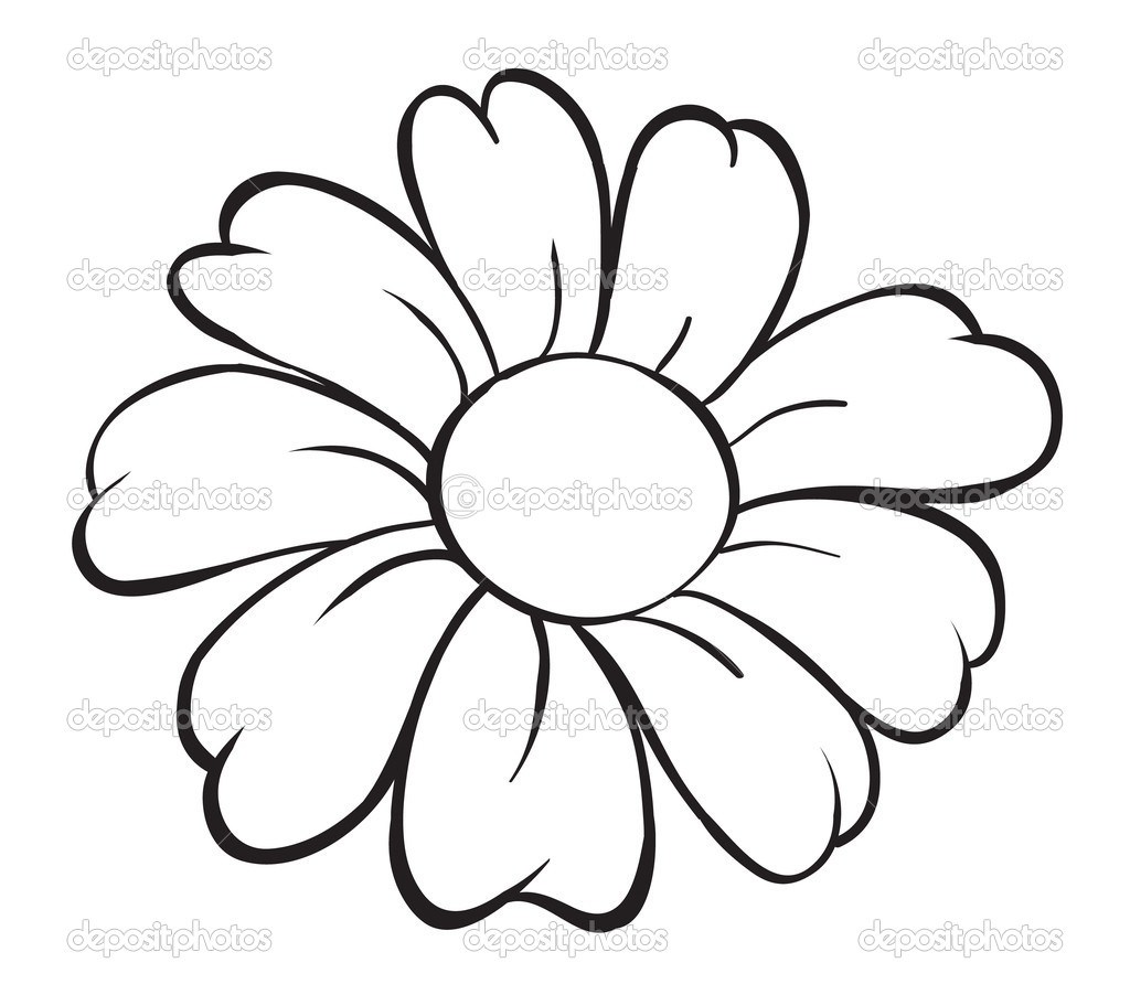 1024x902 Easy Flower Sketches Flower Drawing Clipartsco