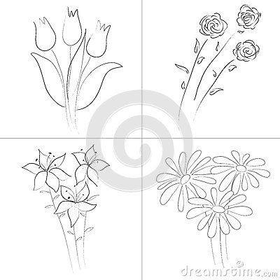 400x400 Gallery Different Flowers Sketch,