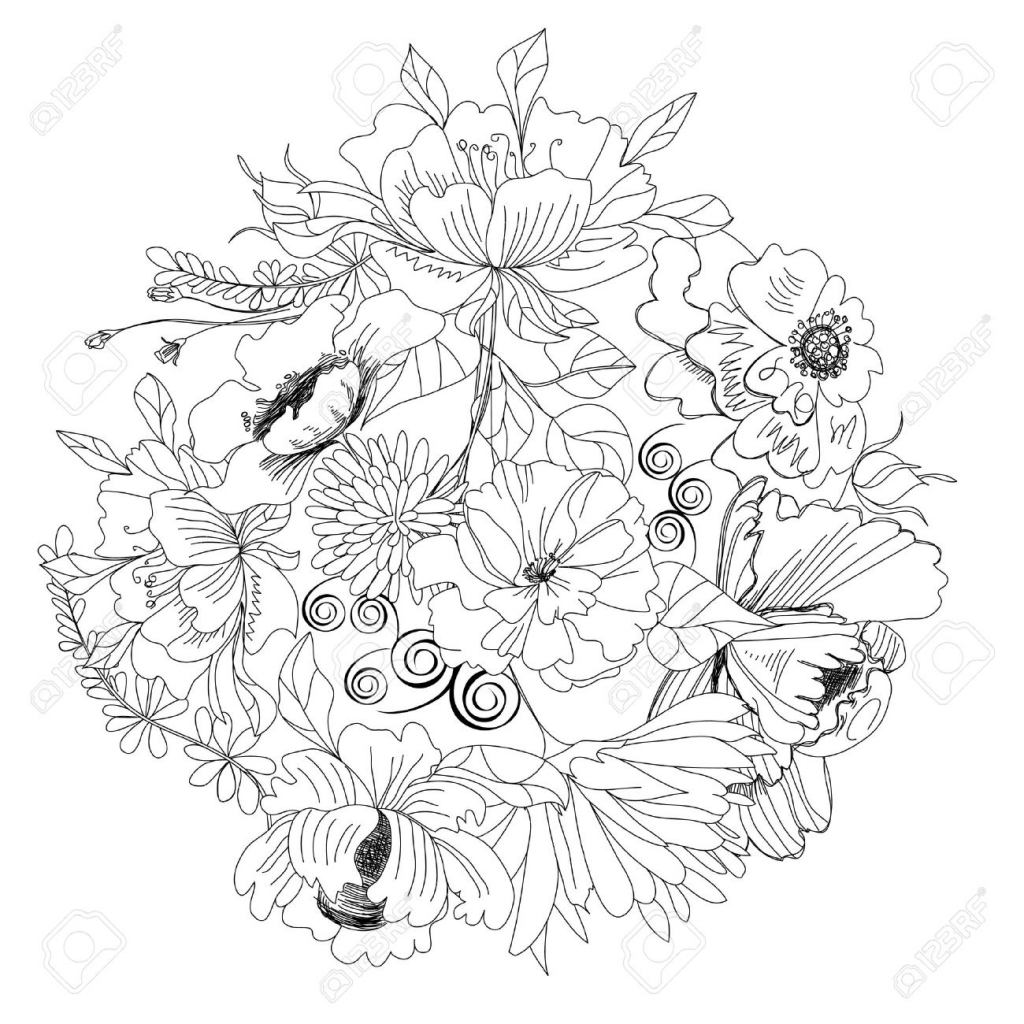 1024x1024 Sketches Of Flowers Flower Sketch Images Stock Pictures Royalty