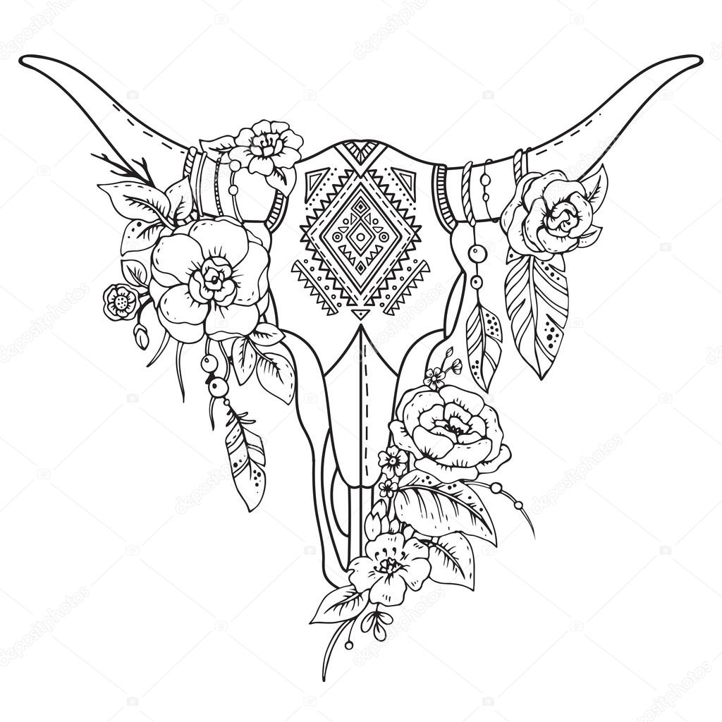 1024x1024 Decorative Indian Bull Skull With Ethnic Ornament,flowers Stock