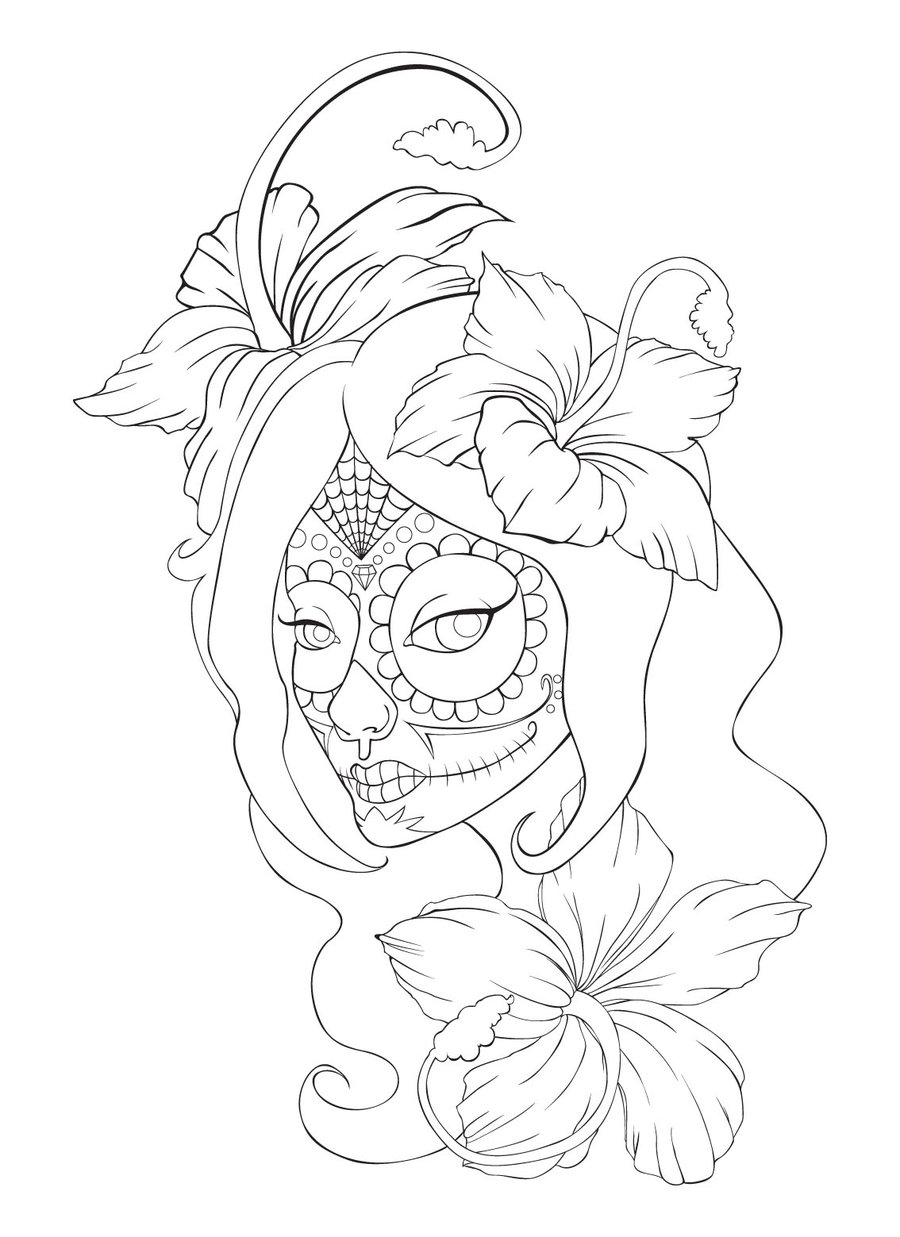 flower skull drawing at getdrawings com free for personal use