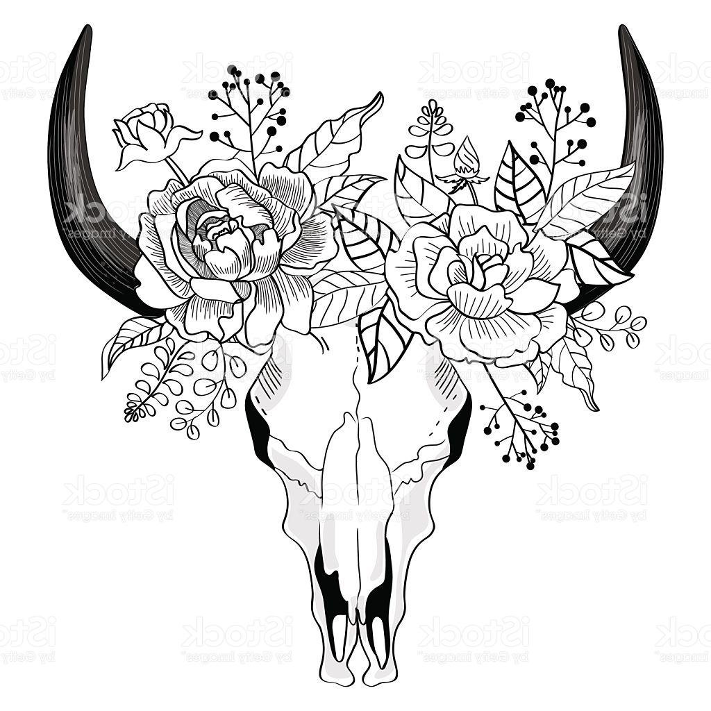 1024x1024 Best Color Skull And Flowers Drawing Vector Design