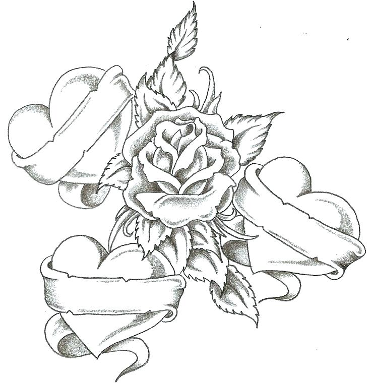736x764 Coloring Pages Roses And Hearts Skulls And Roses Coloring Pages