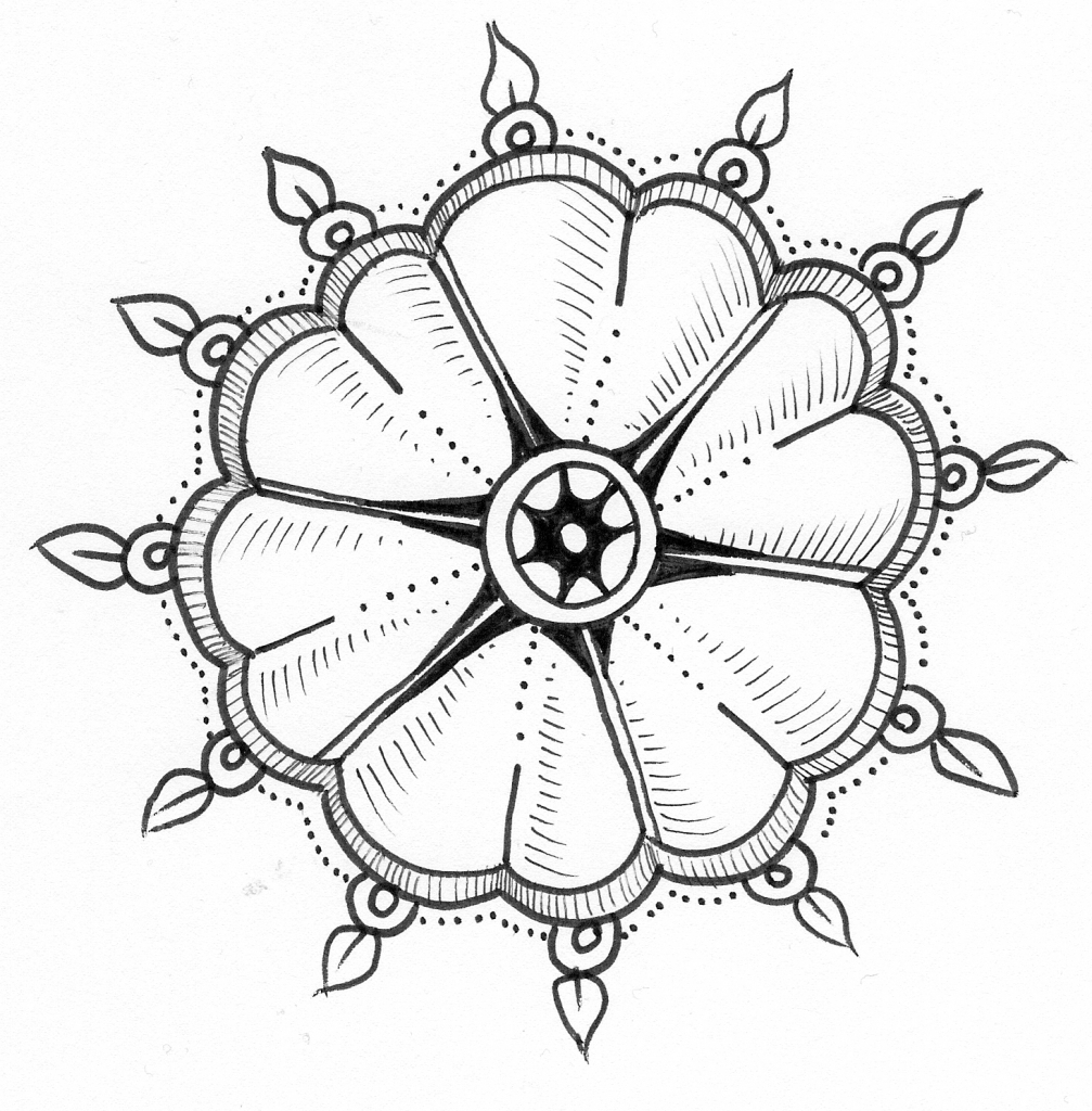 1007x1024 Drawing Flower Tutorial