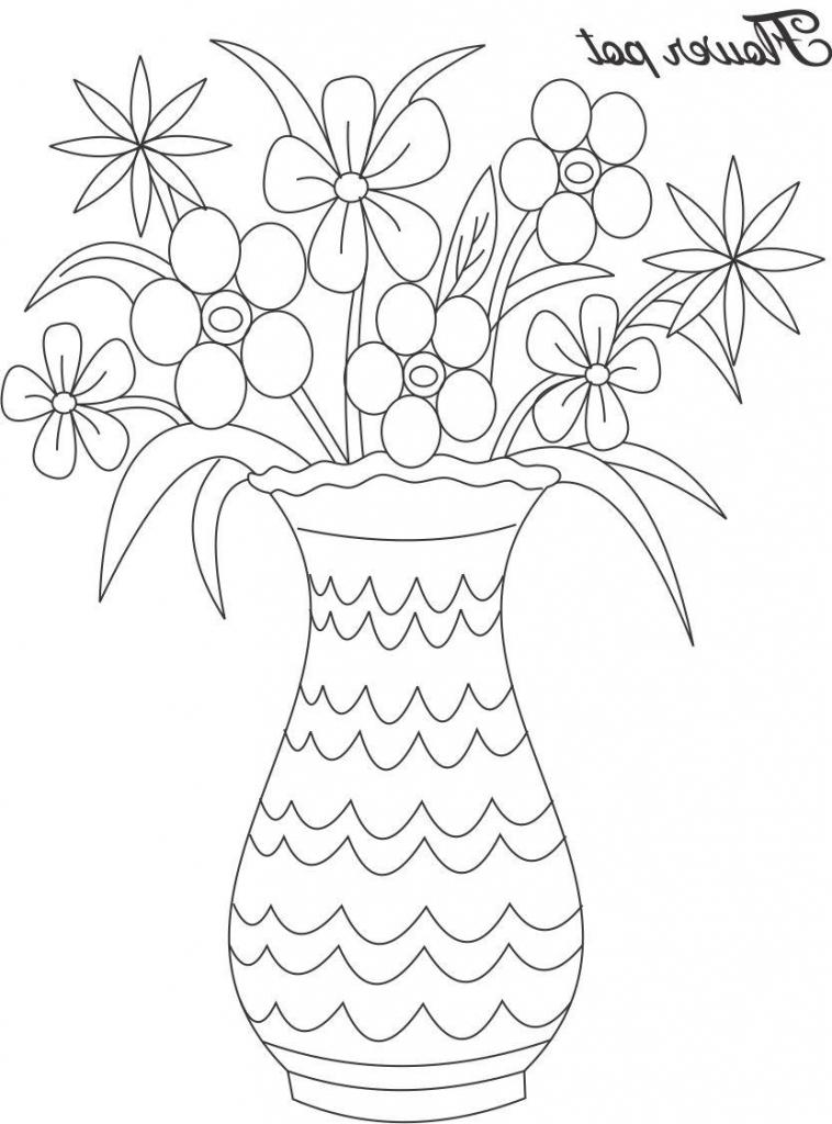 758x1024 Flower Vase Drawing Kid