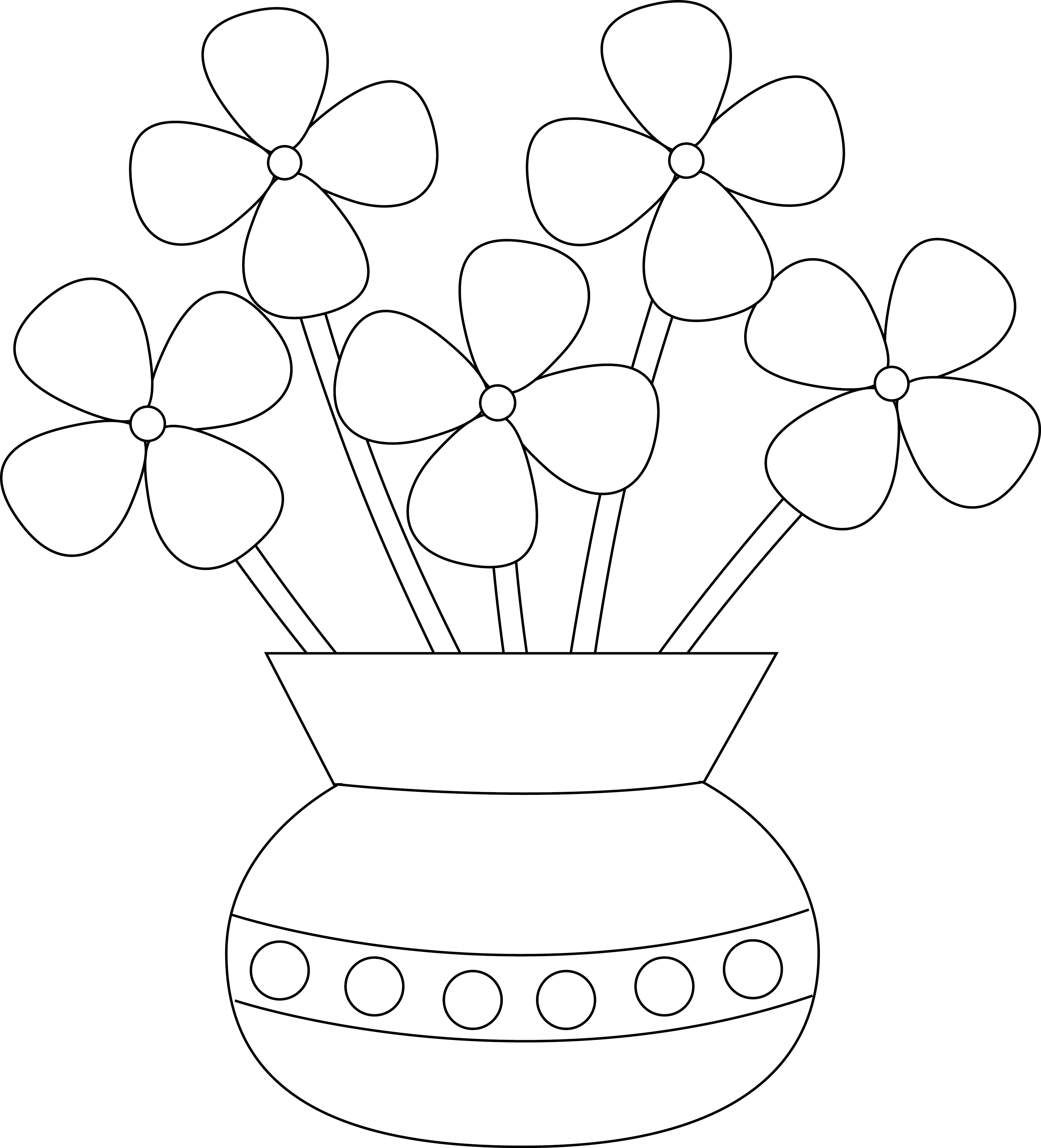 3408x3758 Simple Drawings Of Flowers In A Vase Draw A Flower Vase For Kids